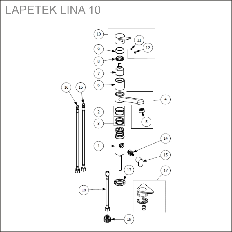 LAPETEK LINA 10-A, chrome + dishwasher valve