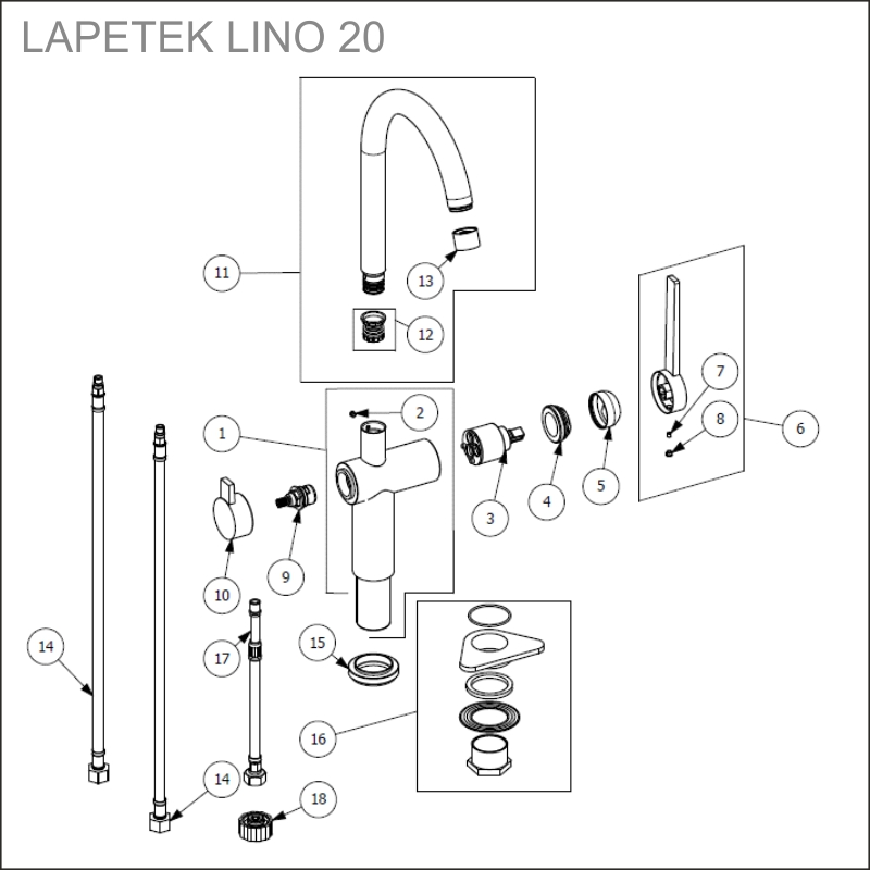 LAPETEK ROUND-A, chrome, dishwasher valve
