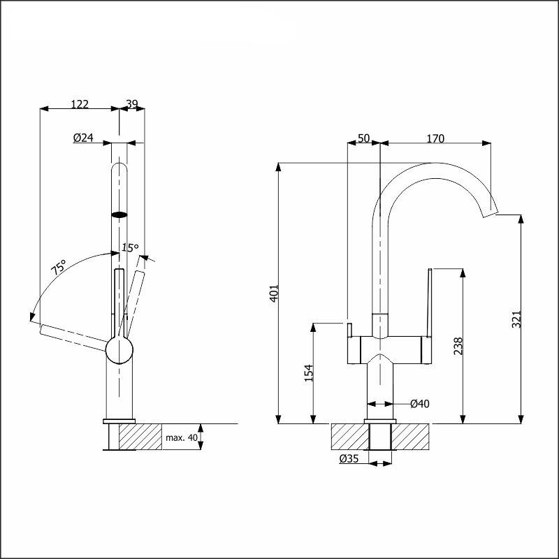 LAPETEK ROUND-A, anthracite, dishwasher valve
