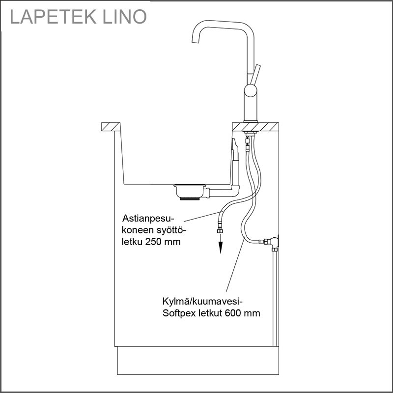 LAPETEK LINO-A, rock gray, dishwasher valve