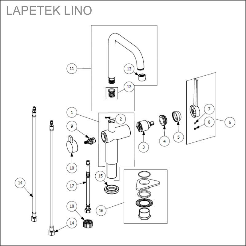 LAPETEK LINO-A, matt black, dishwasher valve