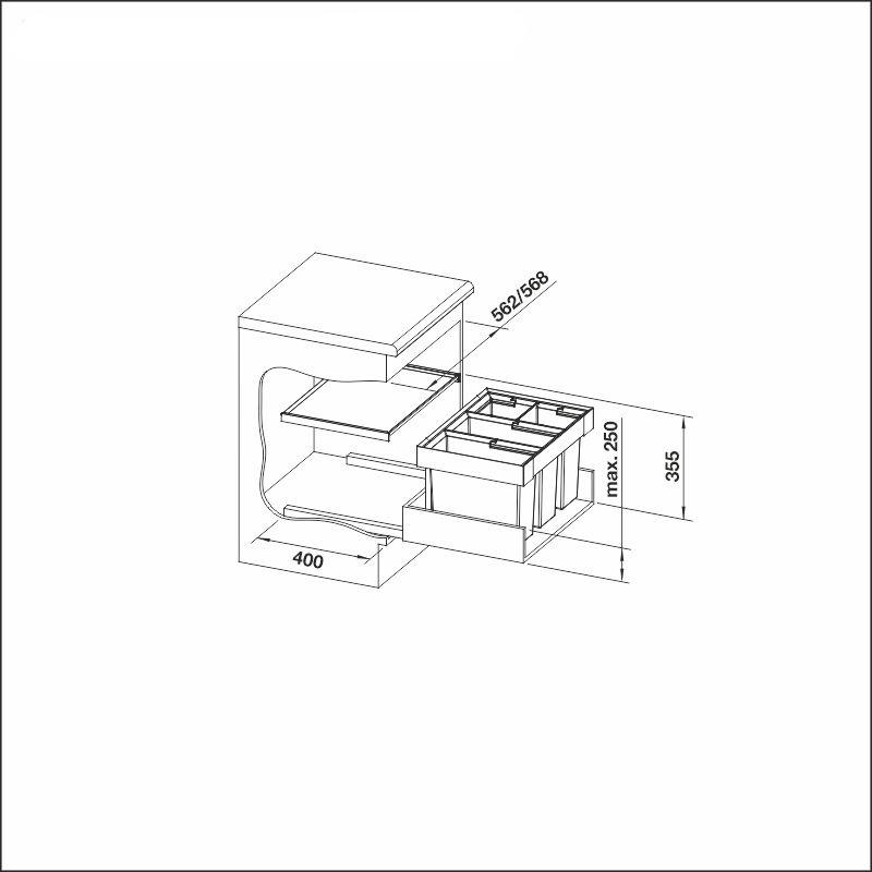 FLEXON 60/4, 2 x 15 l + 2 x 6 l bins