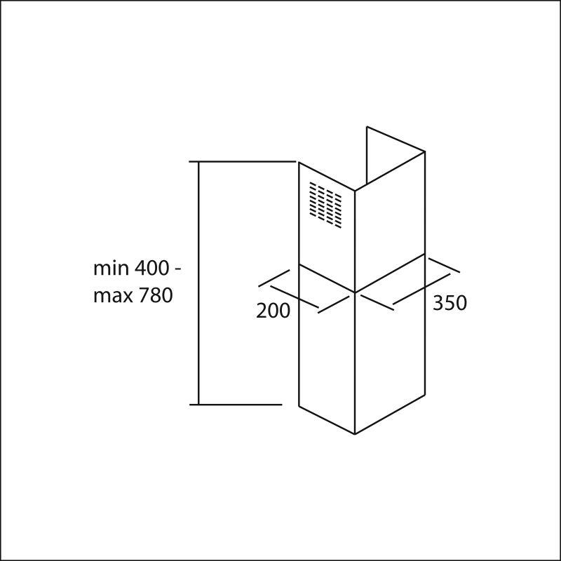 Chimney set 400-780 mm, s/s (Quasar, Flipper, Prisma)