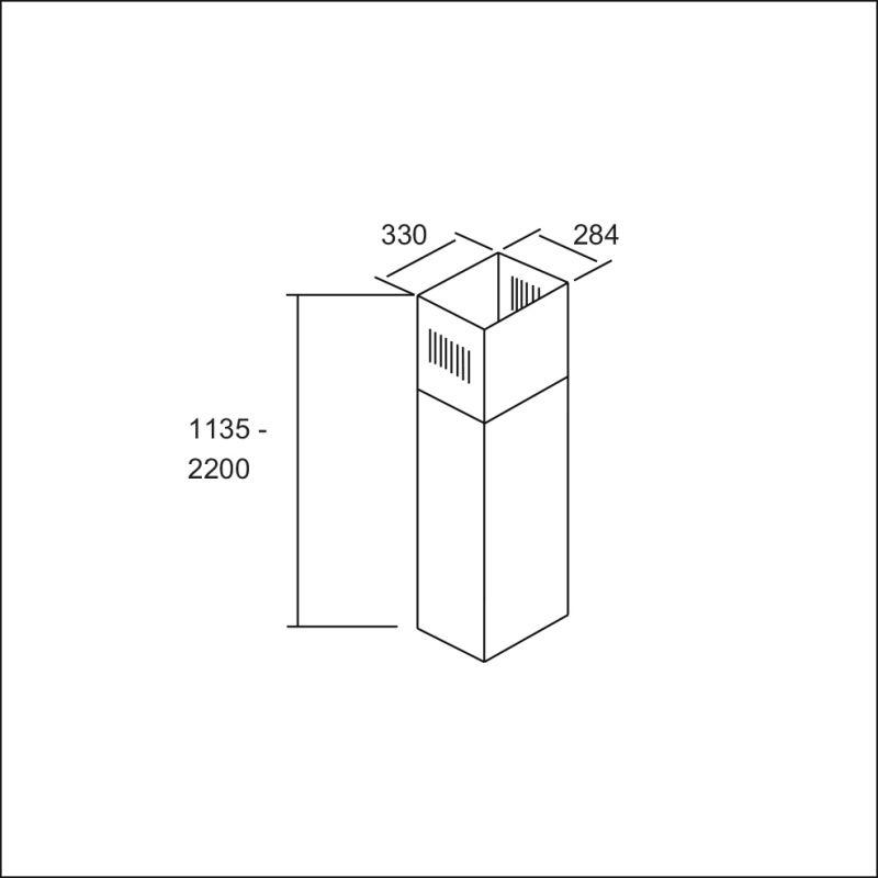Extension chimney, s/s (Jona-V, Fara-V, Cara-V)