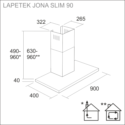 LAPETEK JONA Slim 90 valkoinen