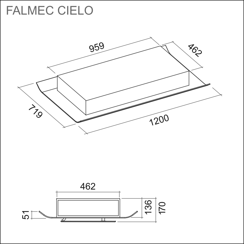 FALMEC CIELO 120, white/glass