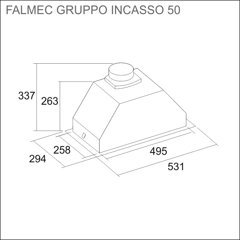 FALMEC GRUPPO INCASSO 50/70/100 cm, ruostumaton teräs, upotettava