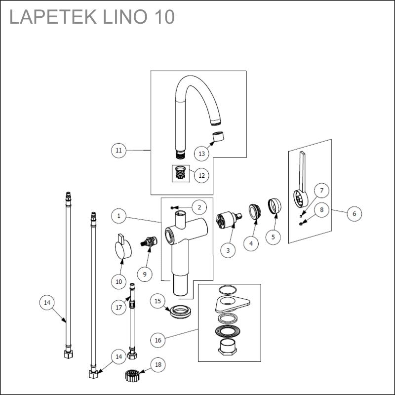spare parts LAPETEK LINO 10-A, chrome