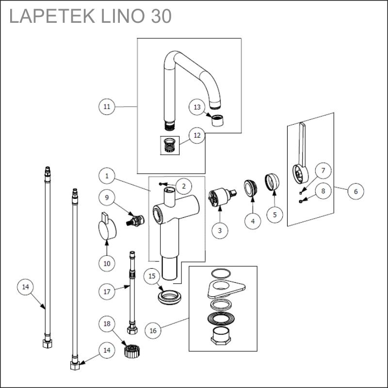 spare parts LAPETEK LINO 30-A, chrome
