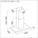 FALMEC PLANE-V, 90/120, saarekemalli